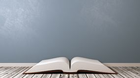 Open Book on Wooden Floor. Open Book with Blank Pages on Wooden Floor Against Blue-Grey Wall with Copyspace 3D Illustration Stock Photos