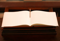 Open book with blank yellow pages Royalty Free Stock Photo