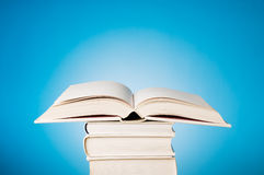 Open book on blue Royalty Free Stock Image