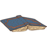 Open Book with a Blue Cover Stock Images
