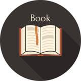Open book with a bookmark icon Royalty Free Stock Photos