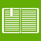Open book with a bookmark icon green Royalty Free Stock Photography