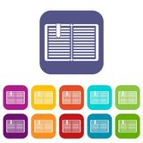 Open book with a bookmark icons set Royalty Free Stock Photo