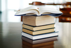 Open book on  books Royalty Free Stock Image