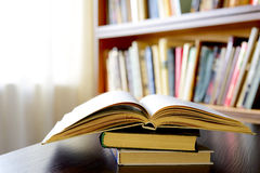 An open book with bookshelves in the background Royalty Free Stock Photography