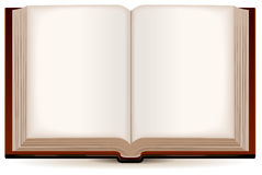 Open book in a brown cover Stock Photography
