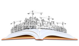 Open book and building construction knowledge of  architecture Stock Photo