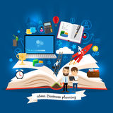 Open book with business strategy concept Stock Photo