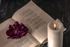 An open book with a candle. on the pages is a Bud of dried rose. royalty free stock image