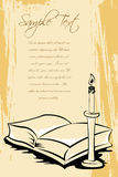 Open book with candle stand Stock Photo