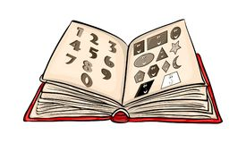 Open book cartoon with numbers and shapes isolated on white back. Ground Royalty Free Illustration
