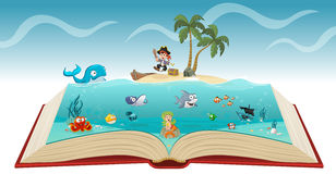 Open book with cartoon pirate boy. With fish and mermaid under water Royalty Free Stock Photography