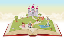 Open book with cartoon princesses and princes Royalty Free Stock Photos