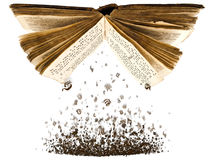 Open book with characters. Open book with spill out characters from it against the white background Stock Image