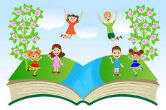Open book with children and summer landscape Stock Photos