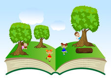 Open book with children and summer landscape Stock Images