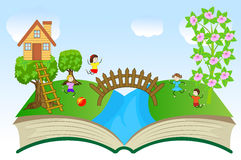 Open book with children and summer landscape Royalty Free Stock Photos