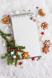 Open book with christmas decoration Stock Photos
