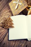 Open book with christmas decoration Stock Images