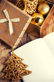 Open book with christmas decoration Stock Image
