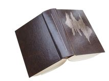 Open book with clipping path. Big book with leather hard cover Stock Image