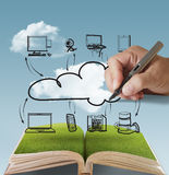 Open book of cloud network. Open book of businessman drawing cloud network Royalty Free Stock Images