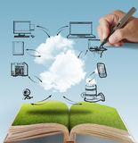 Open book of cloud network. And hand draws Royalty Free Stock Photo