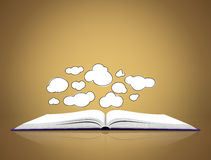Open book with clouds Royalty Free Stock Photos