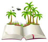 An open book with coconut trees and birds Royalty Free Stock Photography