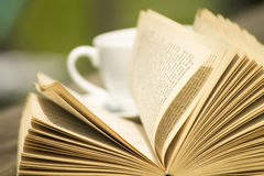 Open book with coffe Stock Photography
