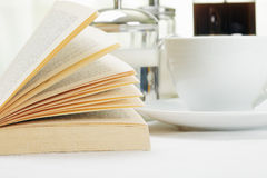 Open book and coffee Stock Photo