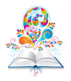Open book with color splash and curl. Royalty Free Stock Photography