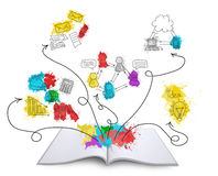 Open book with colored business sketches Royalty Free Stock Photo