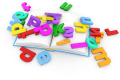 Open book and colored letters Stock Photos