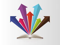 Open book with colorful arrows. Vector Stock Photo