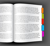 Open book with colorful bookmarks Stock Photo
