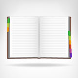 Open book with colorful bookmarks aside isolated Stock Images