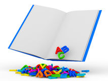 Open Book with Colorful Letters on white backgroun Royalty Free Stock Photography