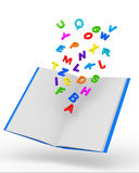 Open Book with Colorful Letters on white backgroun Royalty Free Stock Photo