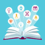 Open book concepr with education icons. Illustration for schools and educational institutions Stock Images