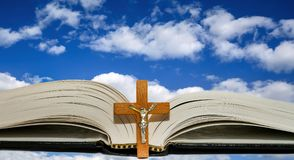Open book and a cross Royalty Free Stock Photography
