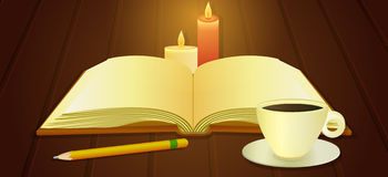 Open book and cup of coffee Stock Images