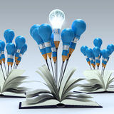 Open book with 3d metal human brain. Inside pencil light bulb as concept Stock Images