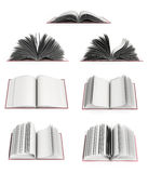 Open book 3d render on white background. Collection of open book 3d render on white background Stock Photography