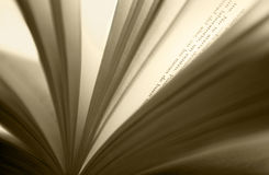 Open book detail in sepia tone Royalty Free Stock Photo