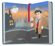 Open Book with Detective. Book Cover with Detective Vector Illustration royalty free illustration