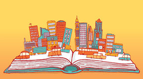 Open book displaying a busy city Stock Photos