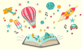 Open book dreams with abstract elements stock illustration