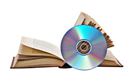 Open book  and DVD Royalty Free Stock Images
