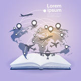 Open Book Earth Planes Read School Education Global Knowledge Concept Stock Photos